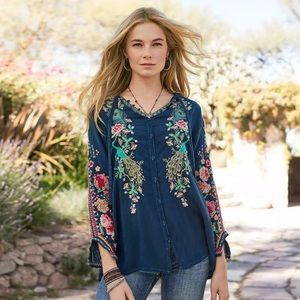 Johnny Was Peacock Sable Embroidered Blouse
